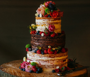 Wedding, Cake, Autumn, Fall, Chocolate, Rustic, Naked, Orange, Purple, Salted Caramel
