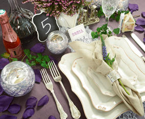 Table Setting, Pink, Blue, Plum, Green, Stationary, Desserts